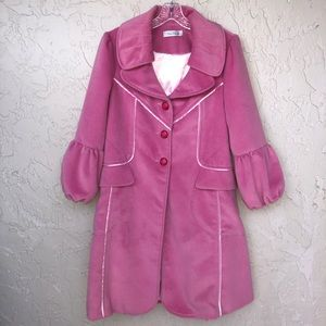 MAXMARA Pink Wool Long Trench Coat Size 4